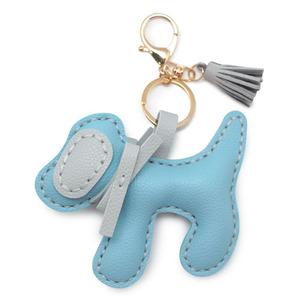 가죽공예 큰 리본강아지 파랑 열쇠고리 만들기